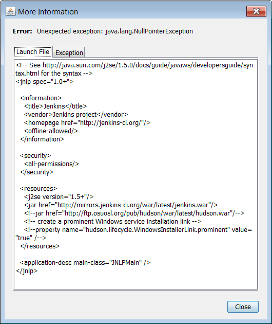 JENKINS-12148] Jenkins Java Web Start doesn't work - Jenkins