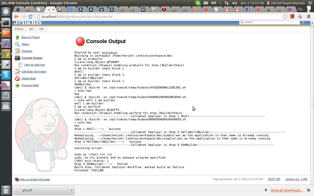 JENKINS-16235] When running sudo command it gives error