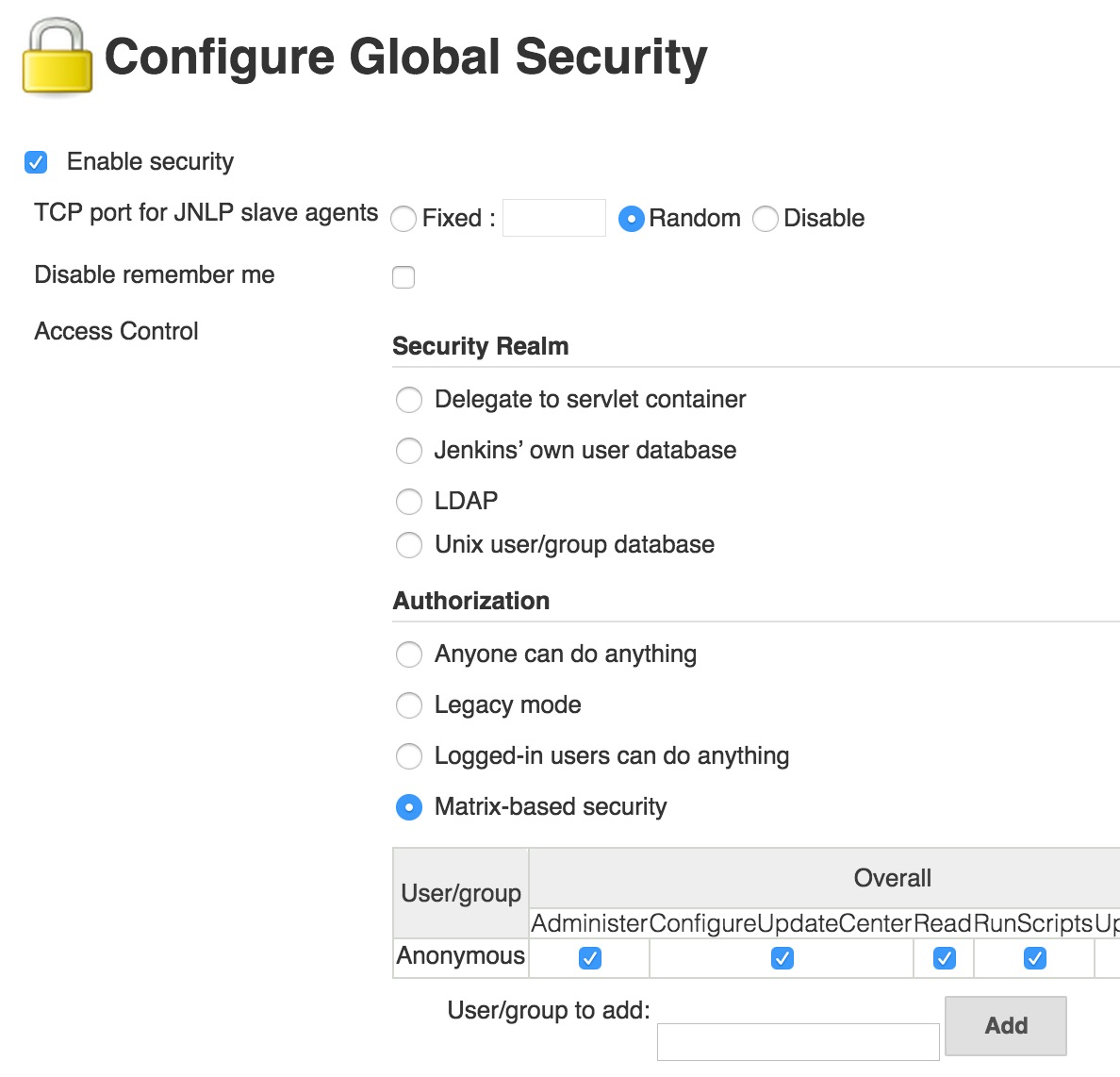 Jenkins 28435 Prevent Global Security Form Submission When No Database Access Control And Configure