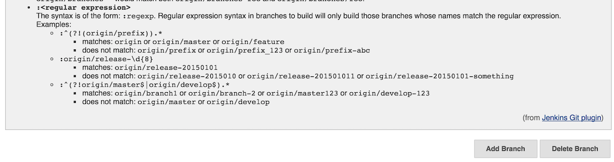 JENKINS-36141] Add examples of branch specifier regular expression