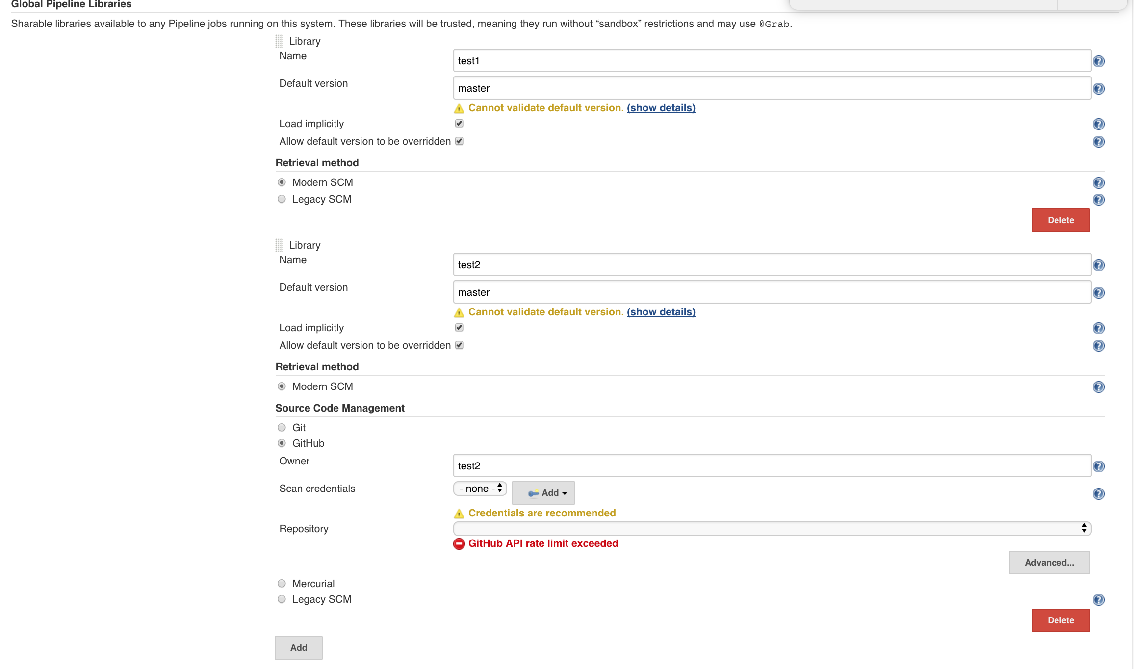 JENKINS-48516] When adding a new Global Pipeline Libraries the