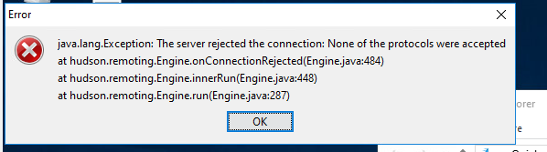 JENKINS-29616] java lang Exception: The server rejected the