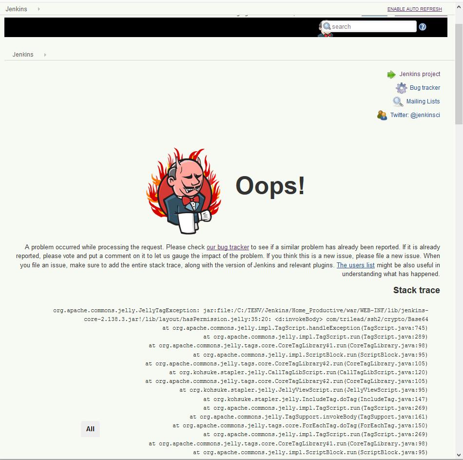 JENKINS-54729] jenkins dashboard displays stacktrace