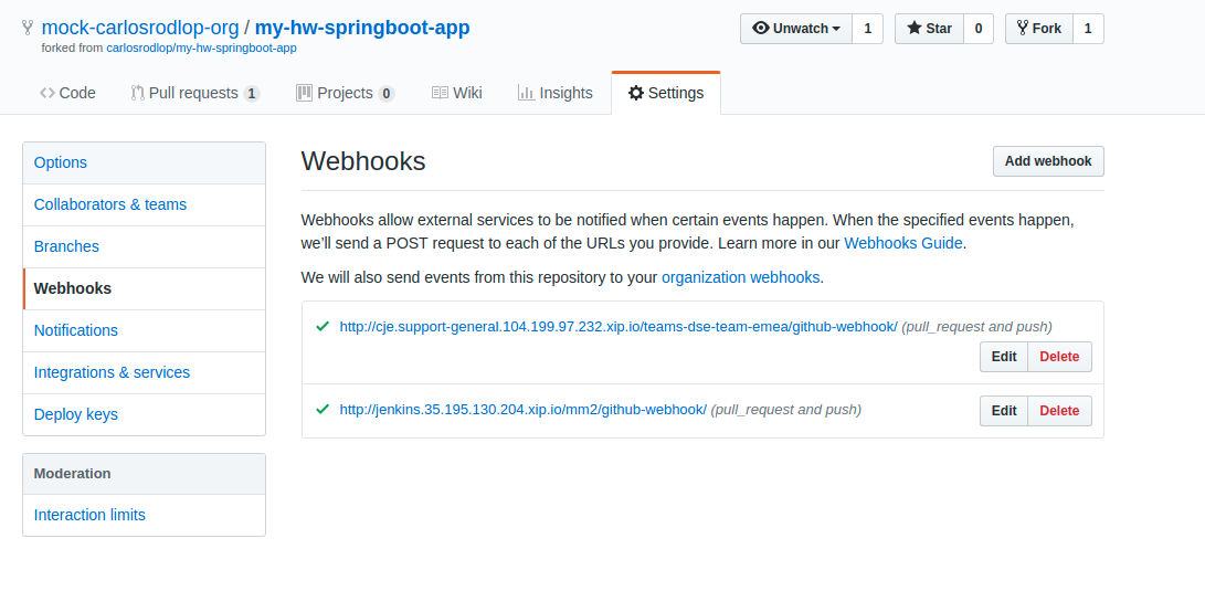 JENKINS-56853] Pull Request validation by multiple jenkins - webhook